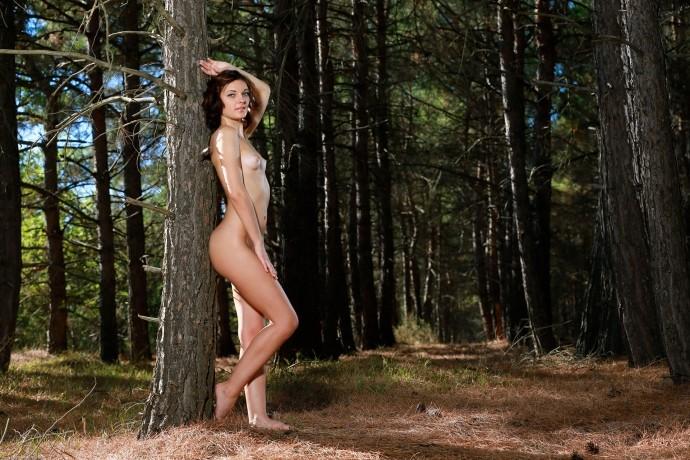 Пизда на природе завлекает местных дровосеков.