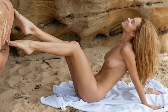 Рыжая давалка отдыхает на скалистом побережье.