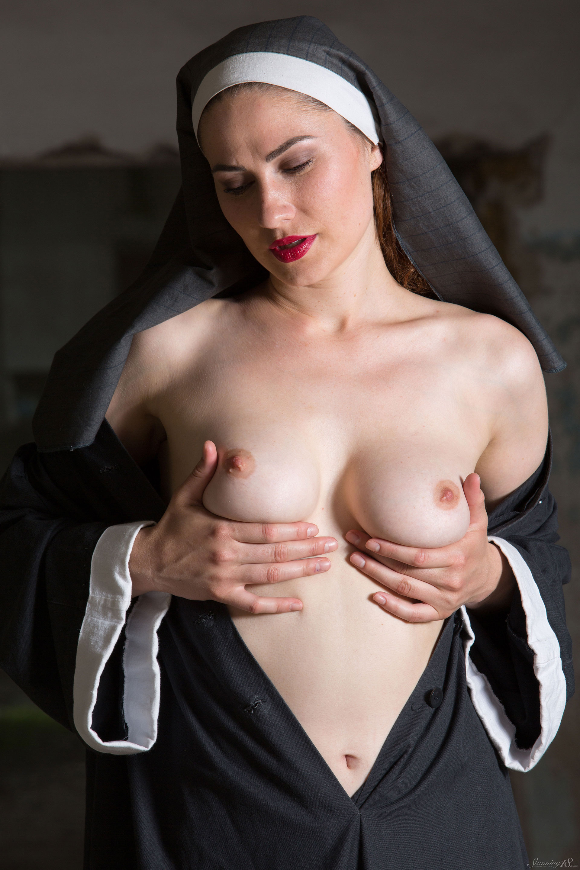 Naked african man bangs a white and pretty nun screaming for pleasure