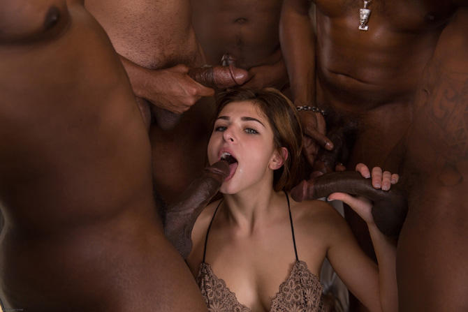Allie Foster Giving Blowjob Gang Bang 1