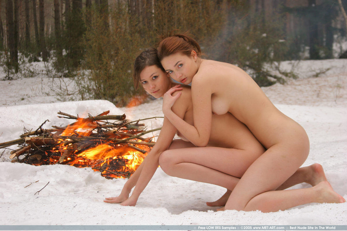 Naked girl in the snow