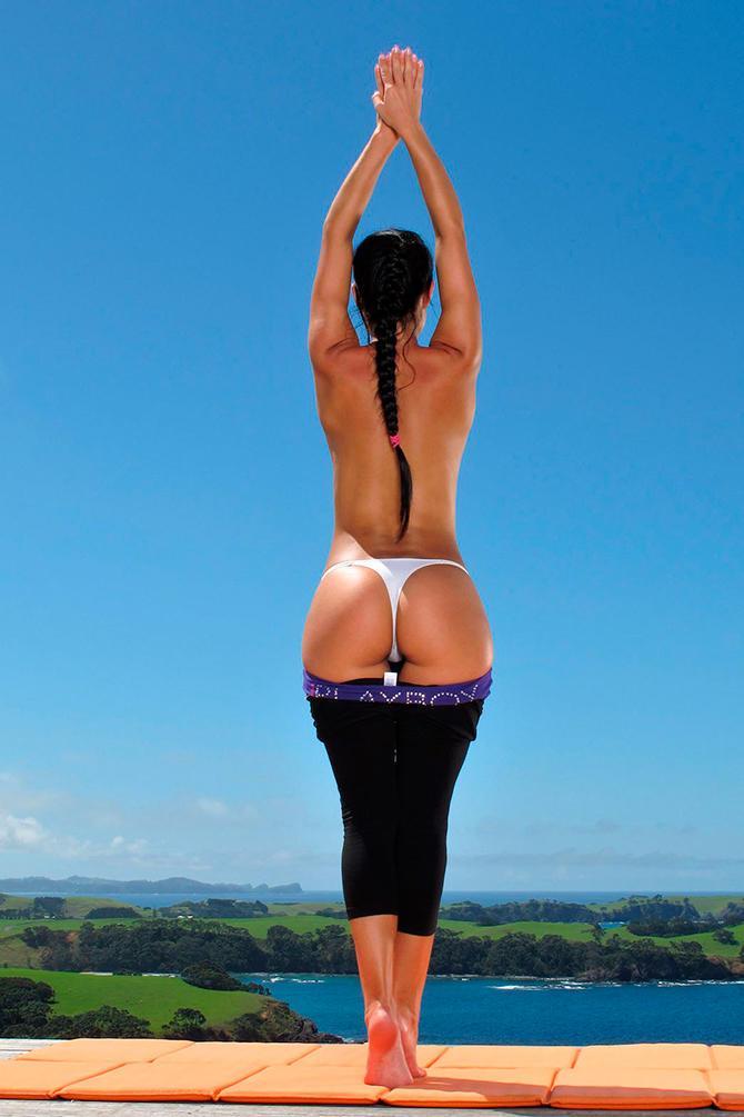 Naked big butts yoga
