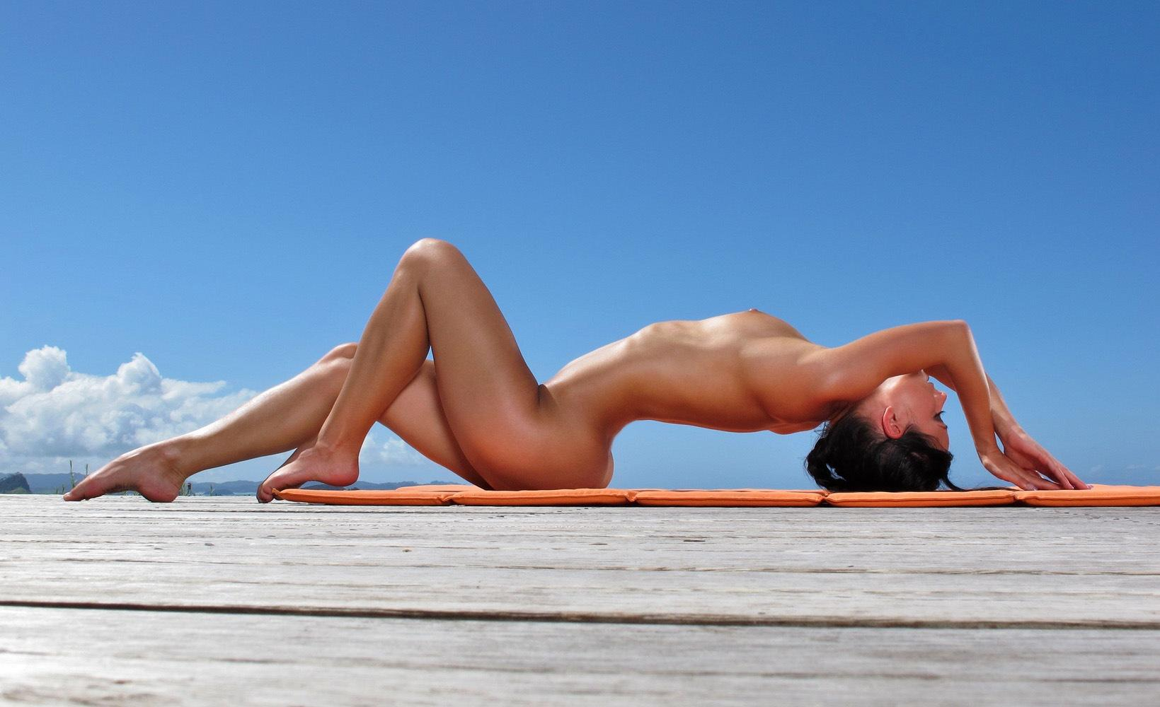Beautiful woman naked yoga images, stock photos vectors